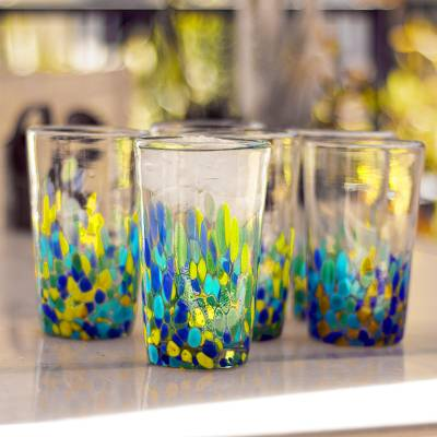 Recycled glass tumblers, Tropical Confetti (set of 6)