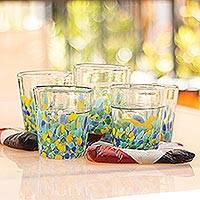 Recycled glass juice glasses, 'Tropical Confetti' (set of 6) - Colorful Recycled Glass Rocks Glasses (11 Oz., Set of 6)