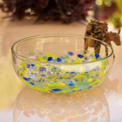 Recycled glass serving bowl, 'Tropical Confetti' - Colorful Recycled Glass Serving Bowl from Mexico