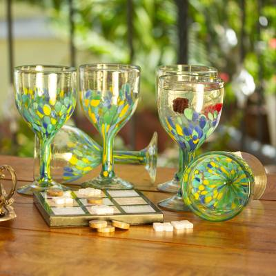 Recycled glass wine glasses, 'Tropical Confetti' (set of 6) - Colorful Recycled Wine Glasses from Mexico (Set of 6)
