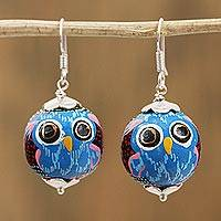 Wood dangle earrings, 'Painted Owl in Black' - Painted Pinewood Owl Dangle Earrings in Black from Mexico