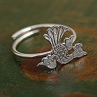 Sterling silver cocktail ring, 'Paradise Bird' - Bird Motif Sterling Silver Cocktail Ring from Mexico