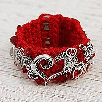 Glass beaded charm bracelet, 'Passionate Blessing' - Glass Beaded Charm Bracelet in Crimson from Mexico