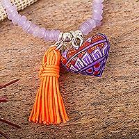 Agate beaded stretch bracelet, 'Alebrije Heart' - Heart Charm PurpleAgate Beaded Stretch Bracelet from Mexico