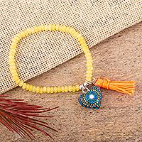 Agate beaded stretch bracelet, 'Heart Mandala' - Heart Charm Yellow Agate Beaded Stretch Bracelet from Mexico