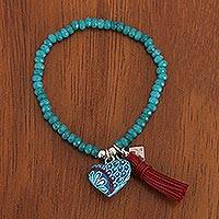 Agate beaded stretch bracelet, 'Teal Heart' - Heart Charm Teal Agate Beaded Stretch Bracelet from Mexico