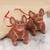 Ceramic ornaments, 'Smiling Dogs' (pair) - Rustic Ceramic Dog Ornaments from Mexico (Pair) thumbail