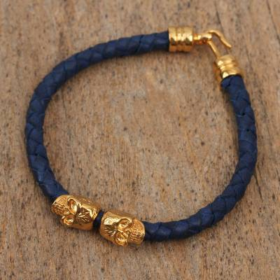 Gold accented leather braided pendant bracelet, Death in Black
