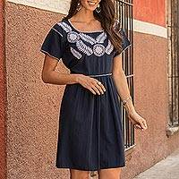 Cotton A-line dress, 'Light Bouquet' - Floral Embroidered Cotton A-Line Dress in Navy from Mexico