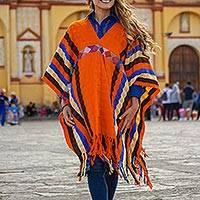Cotton poncho, 'Vermilion Style' - Striped Cotton Poncho in Vermilion from Mexico