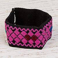Cotton wristband bracelet, 'Fuchsia Dream' - Cotton Wristband Bracelet with Fuchsia Geometric Patterns