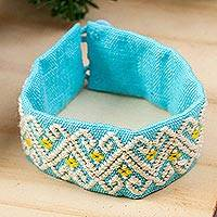 Cotton wristband bracelet, 'Beautiful Sky' - Handwoven Cotton Wristband Bracelet in Cerulean from Mexico