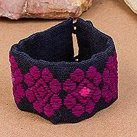 Cotton wristband bracelet, 'Nocturnal Flowers' - Cotton Wristband Bracelet in Aubergine and Ebony from Mexico