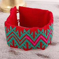 Cotton wristband bracelet, 'Desert Mysteries' - Crimson and Viridian Cotton Wristband Bracelet from Mexico
