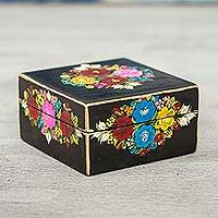 Wood decorative box, 'Black Bouquet' - Hand-Painted Floral Wood Decorative Box in Black from Mexico