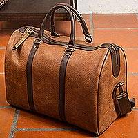 Leather travel bag, 'Fashionable Traveler' - Burnt Sienna and Espresso Leather Travel Bag from Mexico