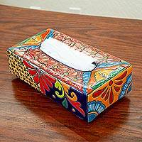 Ceramic tissue box cover, 'Hacienda Convenience' - Floral Talavera-Style Ceramic Tissue Box Cover from Mexico
