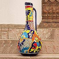 Ceramic vase, 'Talavera Pitcher' - Pitcher-Shaped Talavera-Style Ceramic Vase from Mexico