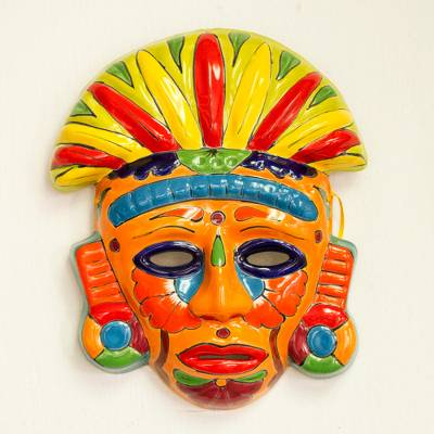 Ceramic mask, 'Chicha Penacho' - Talavera-Style Ceramic Aztec Mask Crafted in Mexico