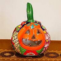 Ceramic candle holder, 'Floral Jack-O-Lantern' - Talavera-Style Ceramic Jack-O-Lantern Candle Holder