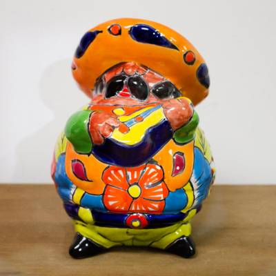 Ceramic figurine, 'Guitar Mariachi' - Talavera-Style Ceramic Figurine of a Mariachi with a Guitar