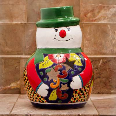 Ceramic candle holder, Festive Snowman