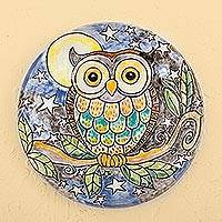Ceramic decorative plate, 'Whimsical Owl' - Owl Under Night Sky Colorful Ceramic Decorative Plate