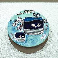 Ceramic decorative plate, 'Whale Whimsy' - Two Happy Blue Whales Swimming Ceramic Decorative Plate