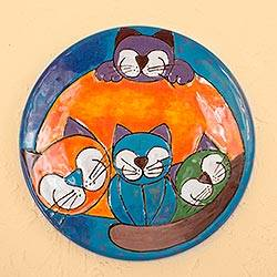 Ceramic decorative plate, 'Happy Cat Family' - Happy Playful Cat Family Colorful Ceramic Decorative Plate