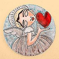 Ceramic decorative plate, 'Angel's Kiss' - Handcrafted Angel and Heart Ceramic Decorative Plate