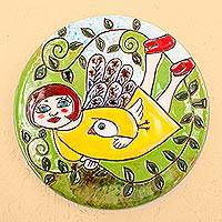 Ceramic decorative plate, 'Angel Bringing Peace' - Handcrafted Angel and Peace Dove Ceramic Decorative Plate