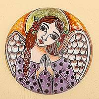 Ceramic decorative plate, 'Angel with Roses' - Handcrafted Angel with Roses Ceramic Decorative Plate