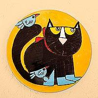 Ceramic decorative plate, 'Cat and Birds' - Handcrafted Black Cat with Birds Ceramic Decorative Plate