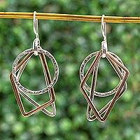 Sterling silver and copper dangle earrings, 'Geometric Trio' - Geometric Sterling Silver and Copper Dangle Earrings