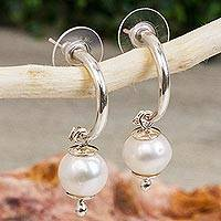 Cultured pearl dangle earrings, 'Titan Moons' - Simple Cultured Pearl Dangle Earrings from Mexico