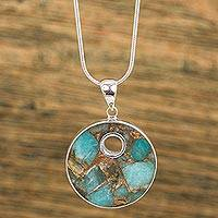 Sterling silver pendant necklace, 'Terrestrial Beauty' - Sterling Silver and Composite Turquoise Necklace from Mexico