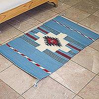 Zapotec wool area rug, 'Cerulean Chakana' (2x3) - Handwoven Geometric Zapotec Wool Area Rug from Mexico (2x3)