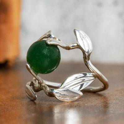 Jade cocktail ring, 'Leafy Olive' - Olive Leaf Green Jade Cocktail Ring from Mexico