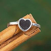 Sterling silver and wood band ring, 'Deep Heart' - Heart-Shaped Sterling Silver and Wood Band Ring from Mexico