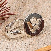 Sterling silver and wood wrap ring, 'Circular Mythology' - Sterling Silver and Wood Wrap Ring crafted in Mexico