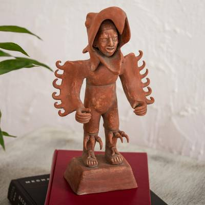 Ceramic sculpture, 'Eagle Warrior' - Handcrafted Ceramic Sculpture of an Aztec Warrior