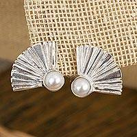 Cultured pearl drop earrings, 'Graceful Fans' - Fan-Shaped Cultured Pearl Drop Earrings from Mexico