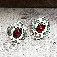 Garnet stud earrings, 'Nocturnal Gala' - Garnet and Recon. Turquoise Stud Earrings from Mexico