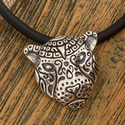 Sterling silver pendant necklace, 'Stylized Jaguar' - Stylized Sterling Silver Jaguar Pendant Necklace from Mexico