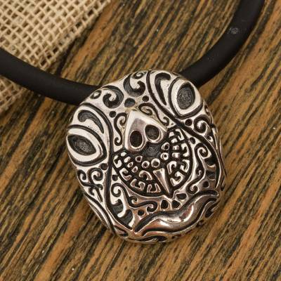 Sterling silver pendant necklace, 'Stylized Tortoise' - Sterling Silver Tortoise Pendant Necklace from Mexico