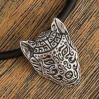 Sterling silver pendant necklace, 'Stylized Wolf' - Stylized Sterling Silver Wolf Pendant Necklace from Mexico