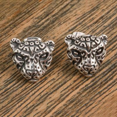 Sterling silver button earrings, 'Stylized Jaguar' - Stylized Sterling Silver Jaguar Button Earrings from Mexico