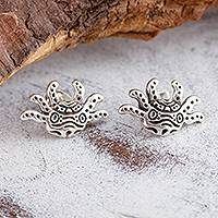 Sterling silver button earrings, 'Stylized Axolotl' - Stylized Sterling Silver Axolotl Button Earrings from Mexico