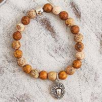 Agate beaded stretch bracelet, 'Stylized Macaw in Brown' - Brown Agate Beaded Stretch Bracelet with Macaw Charm