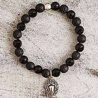 Onyx beaded stretch bracelet, 'Dark Stylized Macaw' - Onyx and Lava Stone Macaw Stretch Bracelet from Mexico